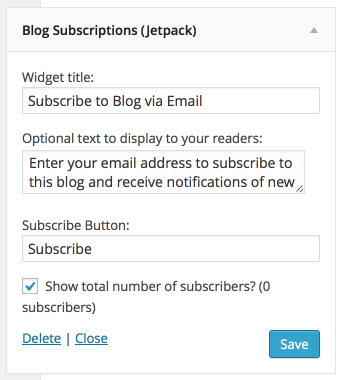 Blog Subscriptions Widget