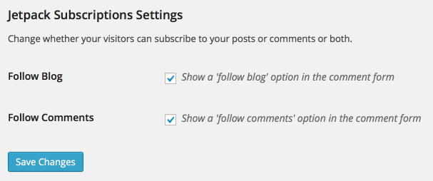 Jetpack Subscriptions Settings