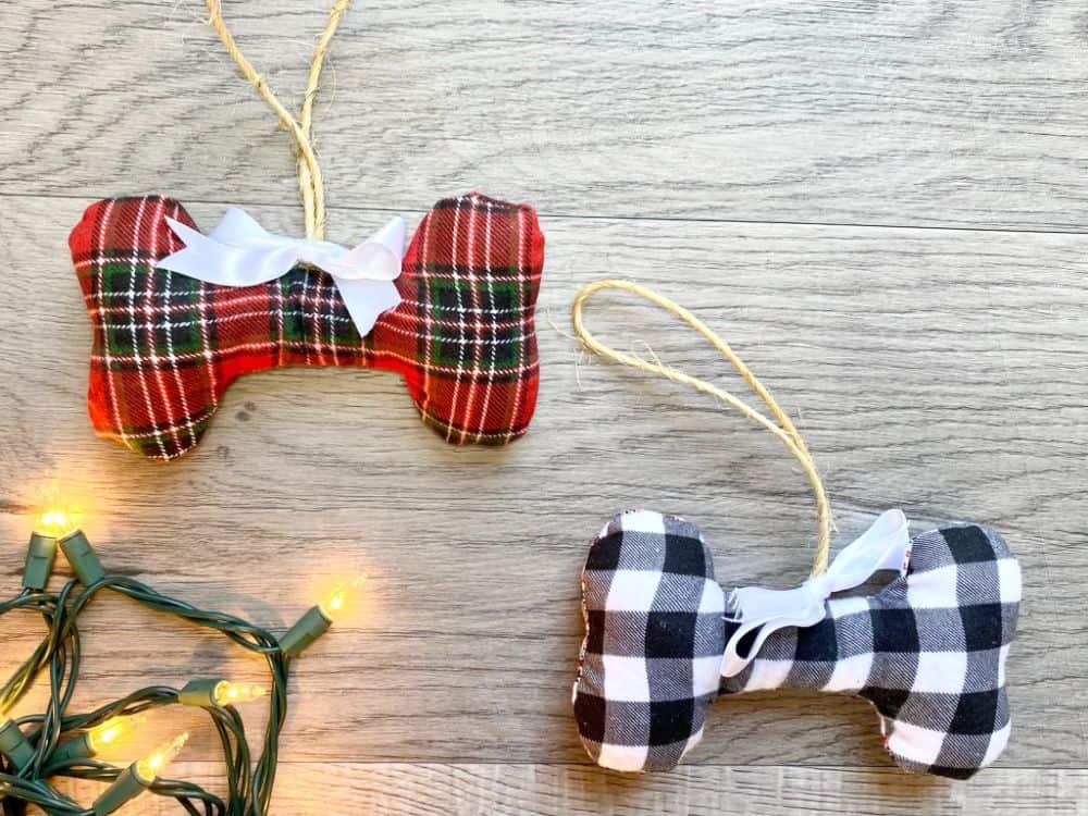 Fabric Dog Bone Christmas Ornament - DIY Sewing Tutorial