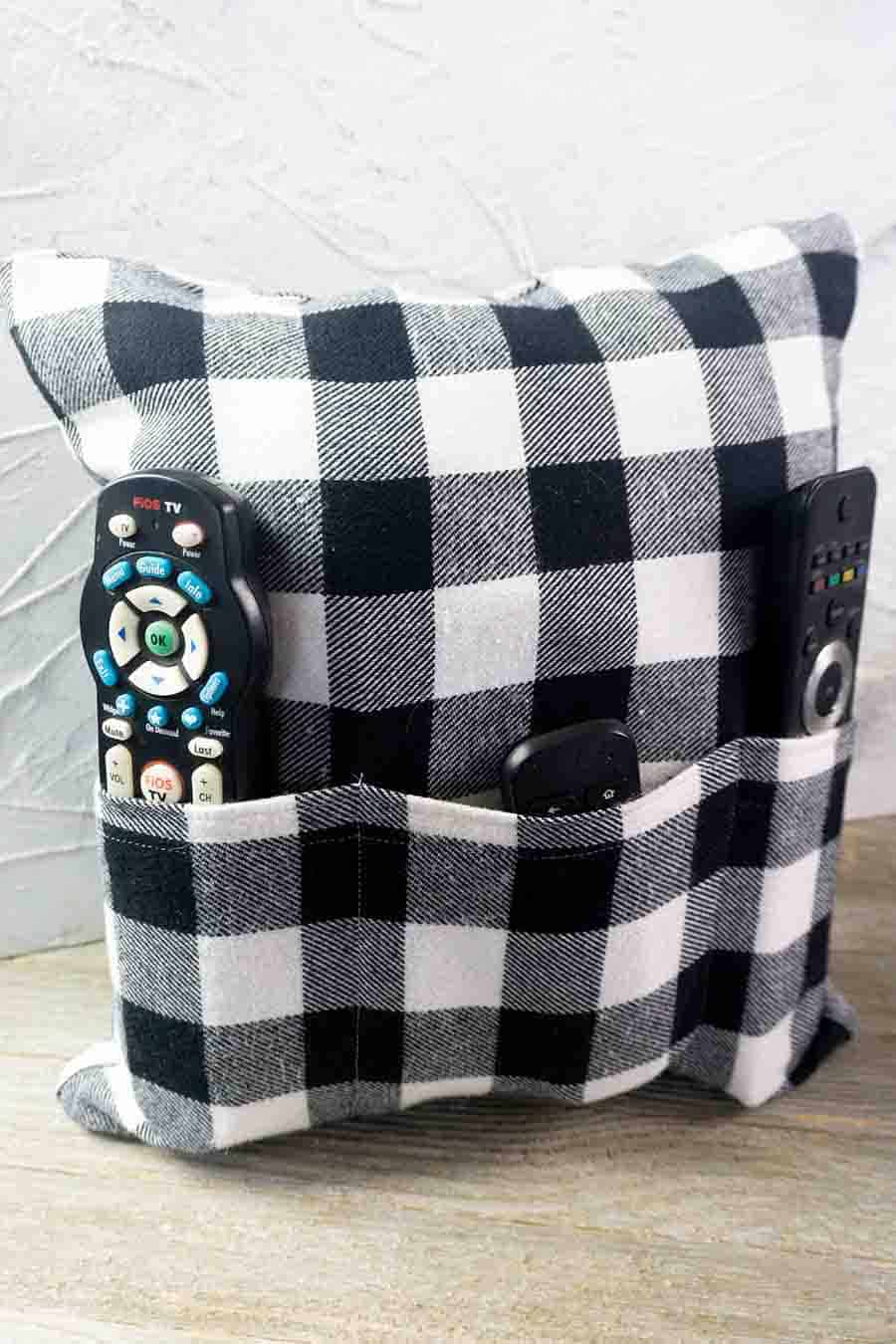 Easy Sew Pillow and Remote Holder - Sewing Tutorial