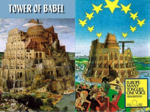 Tower of babel EU Poster | Illuminati New World Order