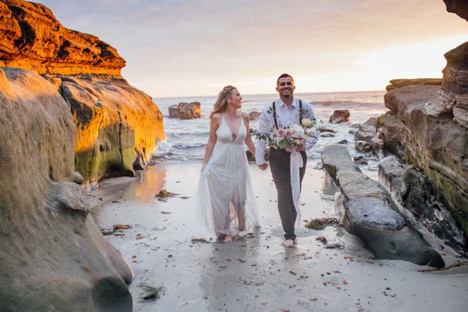 Couples portrait during an elopement in San Diego California