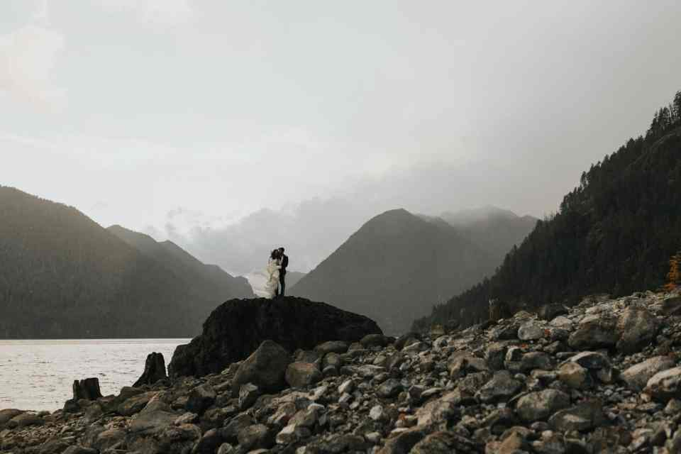 Bride and groom portrait during their elopement in Lake Crescent Lodge, Washington.