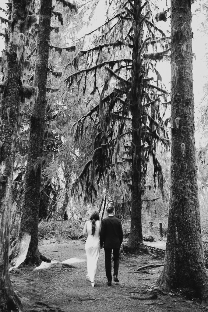 Elopement couple in the Hoh Rainforest, Olympic Park.
