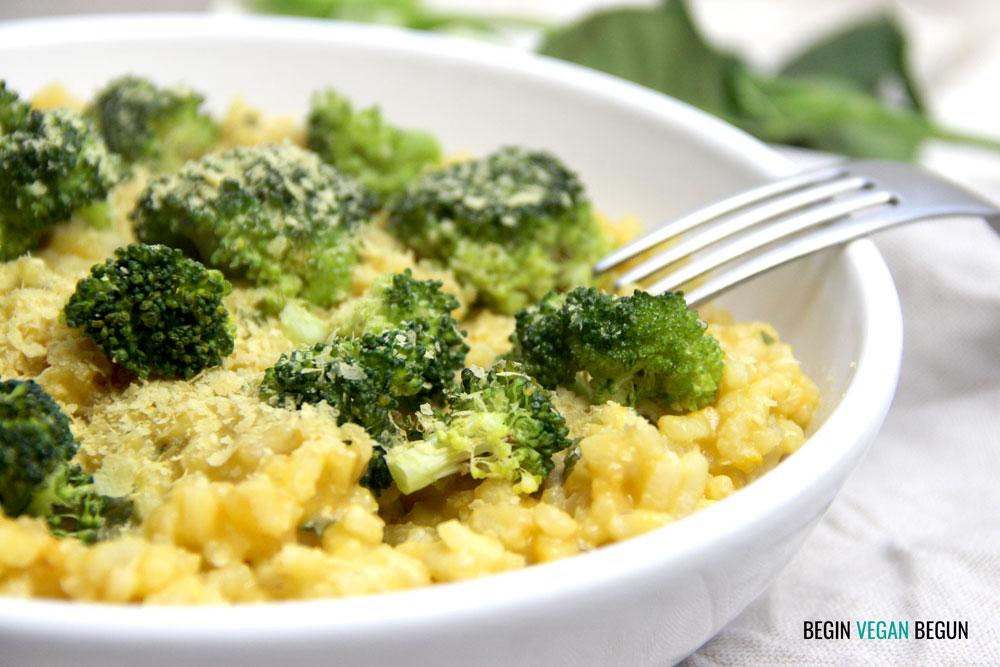 risotto de calabaza y brócoli vegano