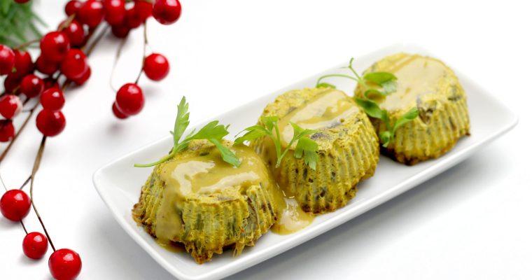 Pasteles de tofu con setas y espárragos