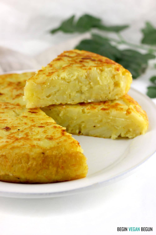 Tortilla de patatas vegana (sin harina de garbanzos)