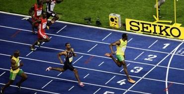 финиш в спринте с результатом 9,58 секунд