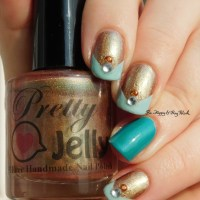 Pick Three Polishes: Pretty Jelly Demeter, Pahlish Loftiest Muse, China Glaze Custom Kicks nail art