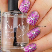 Flower Gradient Nail Art with Girly Bits Cosmetics January 2017 nail polish duo