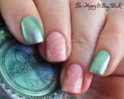 pink marble nail art with