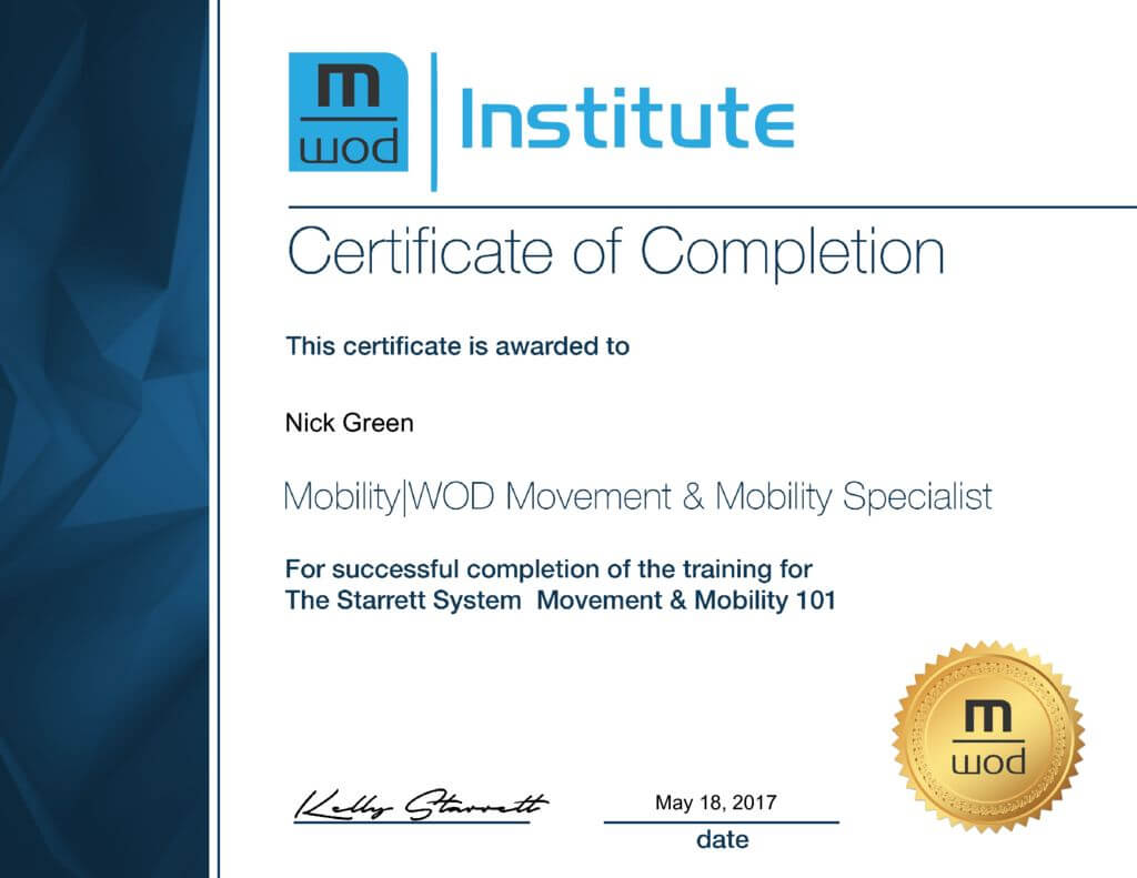 Nick Green Movement Mobility Specialist Certification