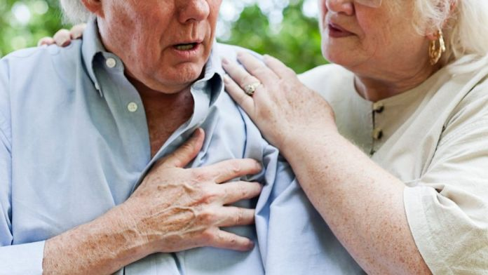 complaining of chest pain heart attack