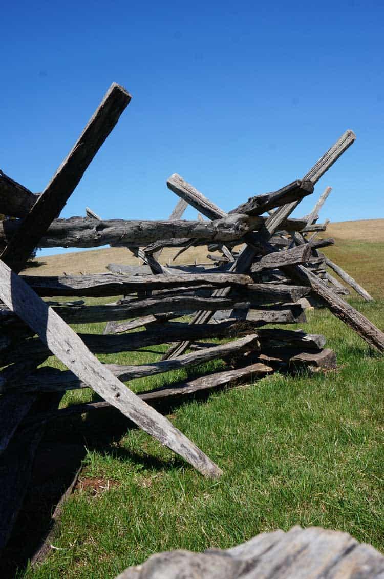 wooden split-rail fence at stone house manassas