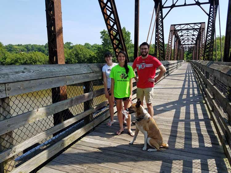 big trip 13 crossing an old bridge on the dan river in danville, VA