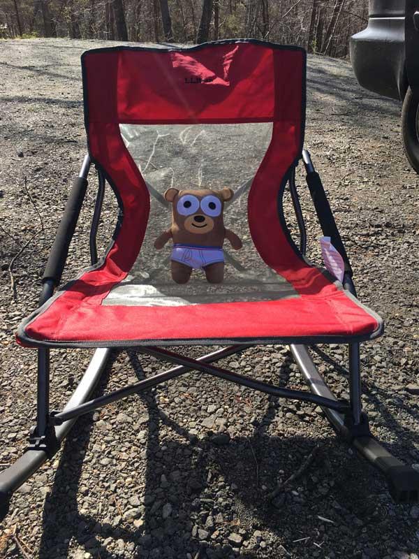travel mascot roadie in chair