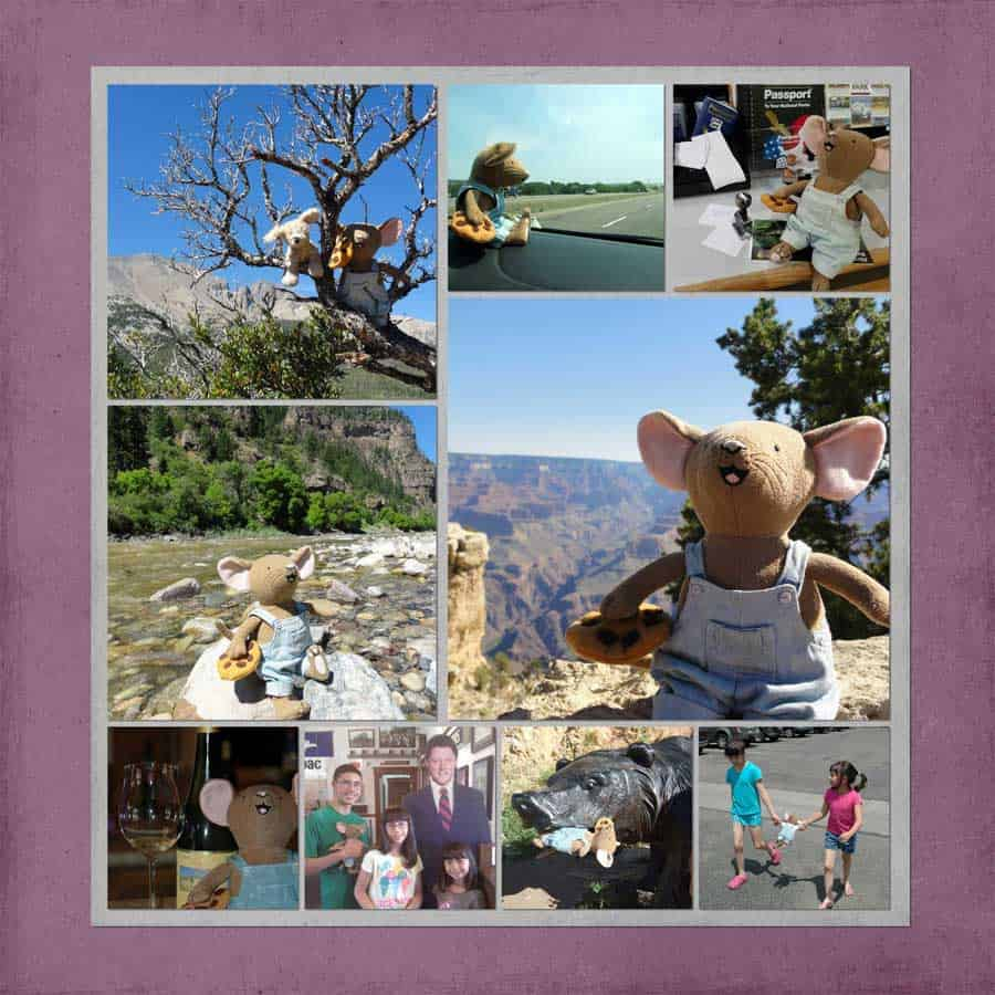 travel mascot vacation mouse collage
