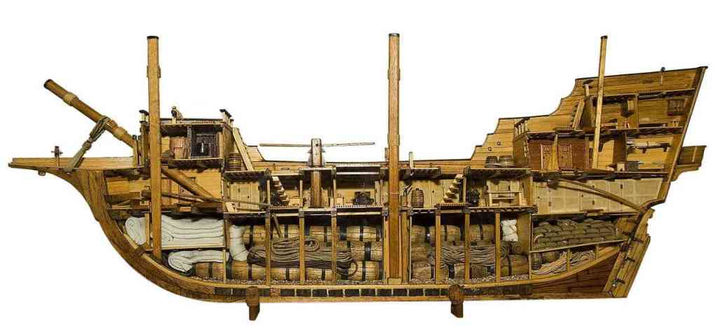 Model of a 17th century English merchantman ship of about 400 tons similar to Mayflower sailed by the Pilgrims