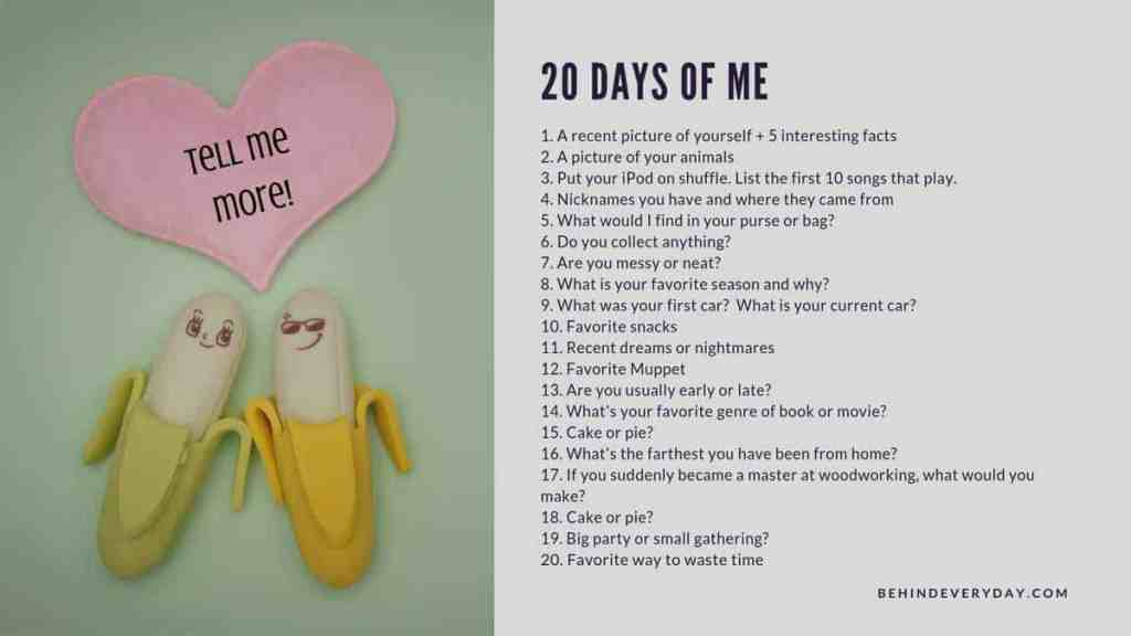 20 Days of Me questions