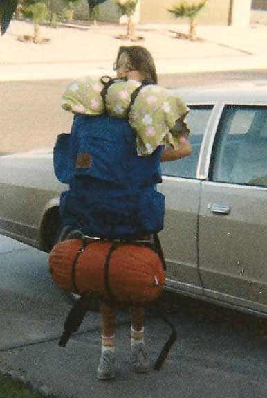 headed off to the backpacking unit at Girl Scout camp with a backpack bigger than me