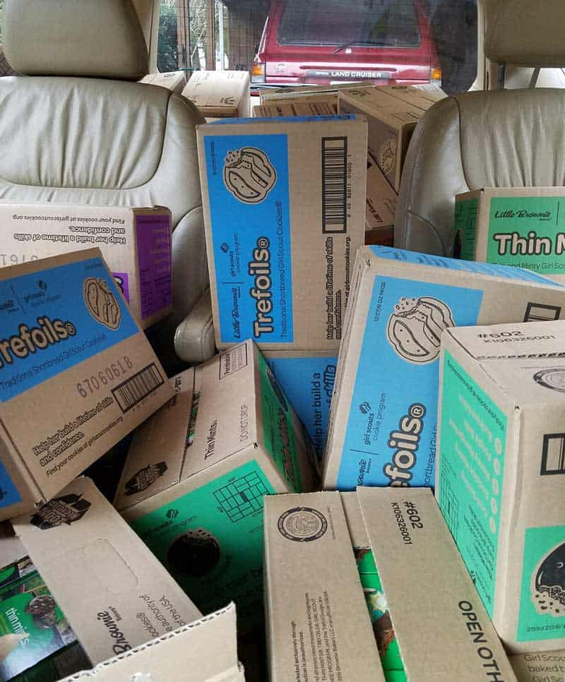 girl scout cookies filling the back of a minivan