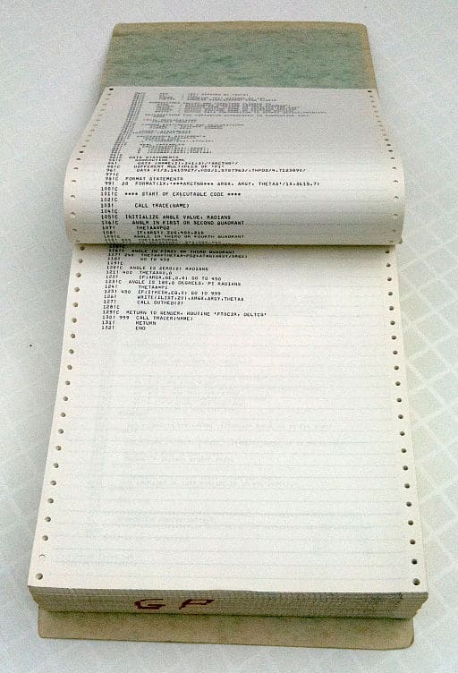 bound computer printout from 1978 on continuous form paper