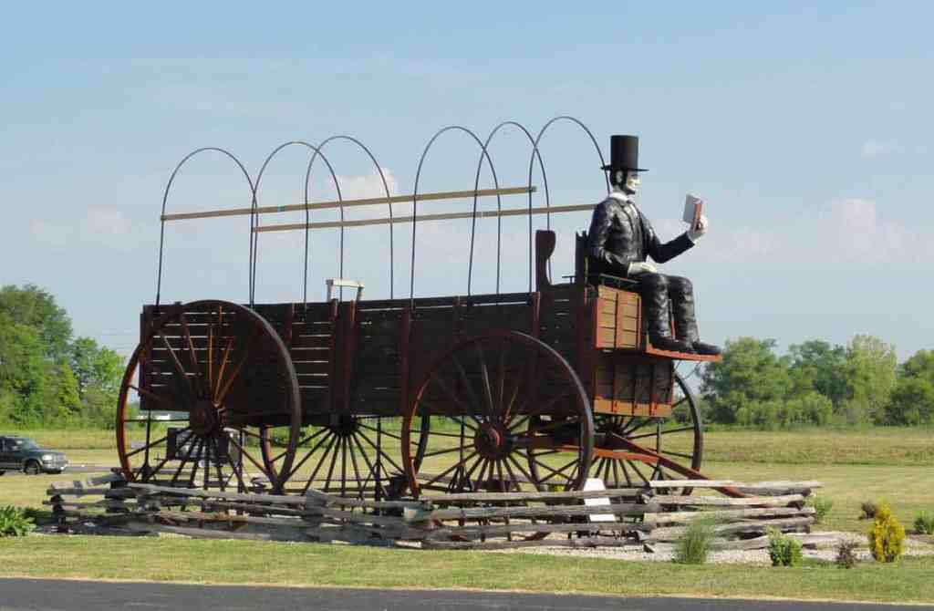 The World's Largest Covered Wagon is located in Lincoln, IL driven by none other than Abraham Lincoln himself!