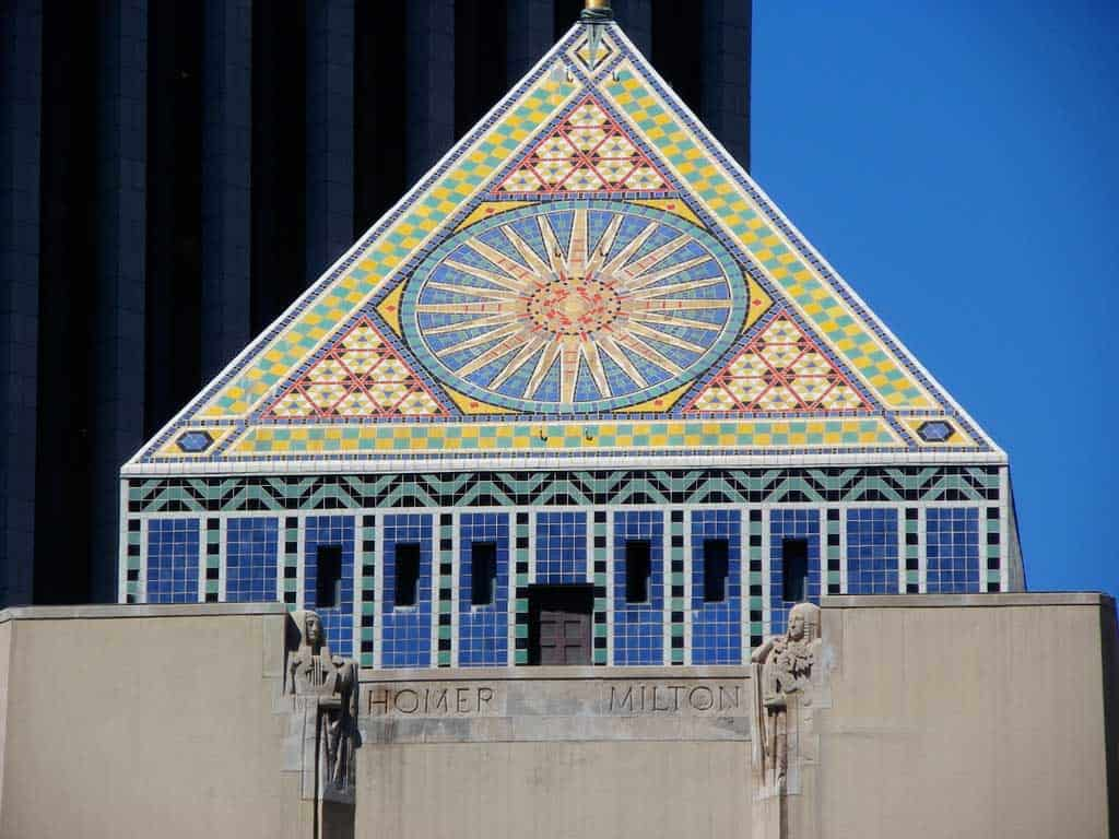 A close-up showing the detail on the pyramid roof of the Los Angeles Central Library designed by Bertram Goodhue.