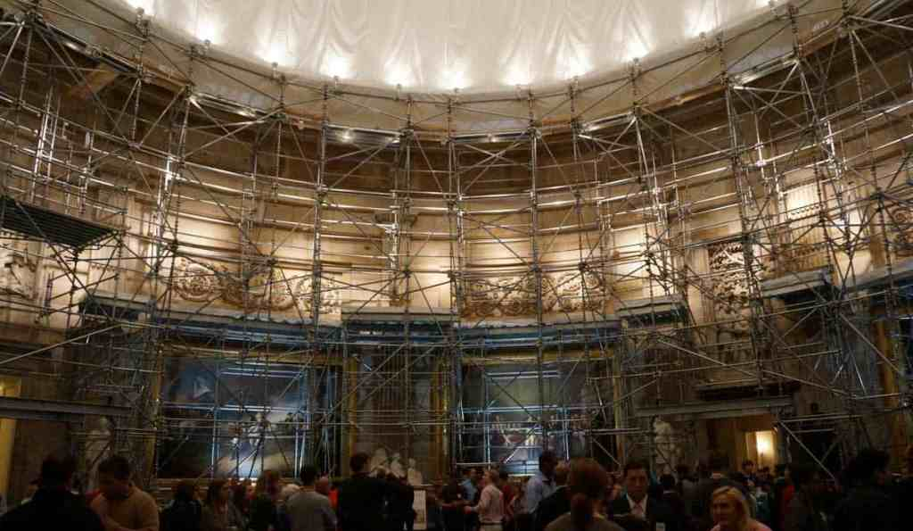 Inside the rotunda room at the US Capitol building. In 2016 it was covered in scaffolding so very hard to see all the art and architecture properly.