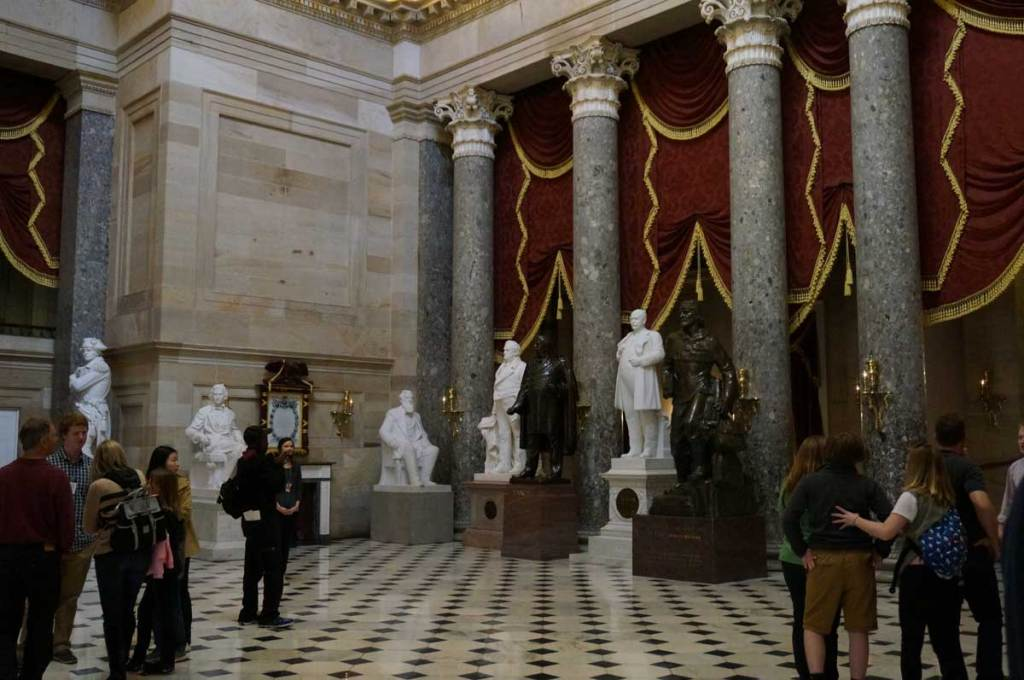 During tour days, the capitol building is full of people everywhere you look. This is the National Statuary Room.