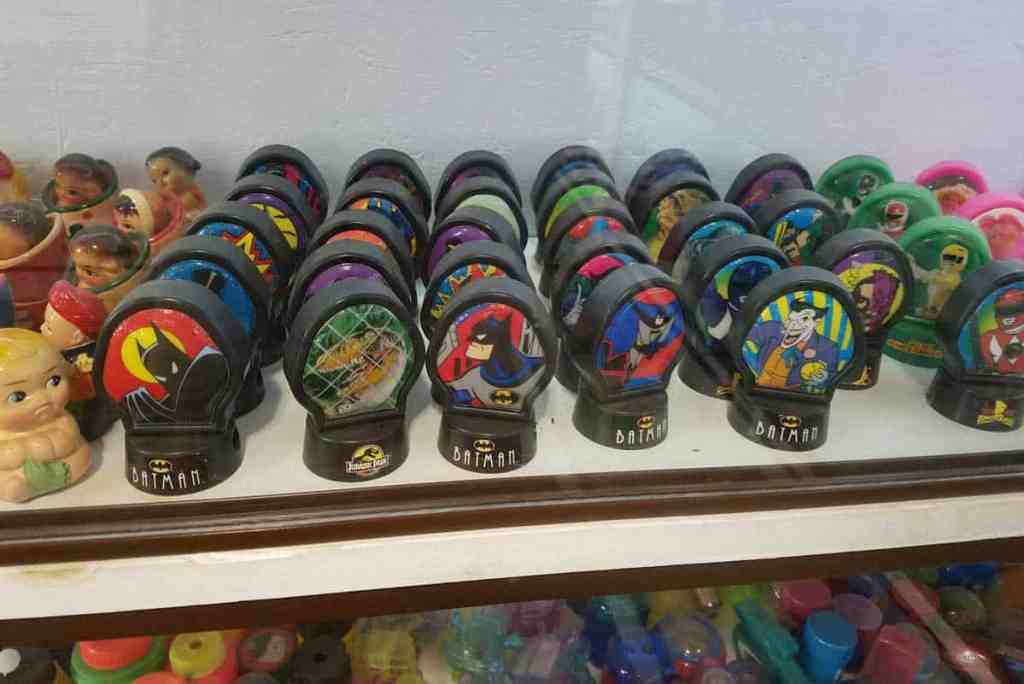 Superhero pencil sharpeners on display at the Paul A Johnson Pencil Sharpener Museum.