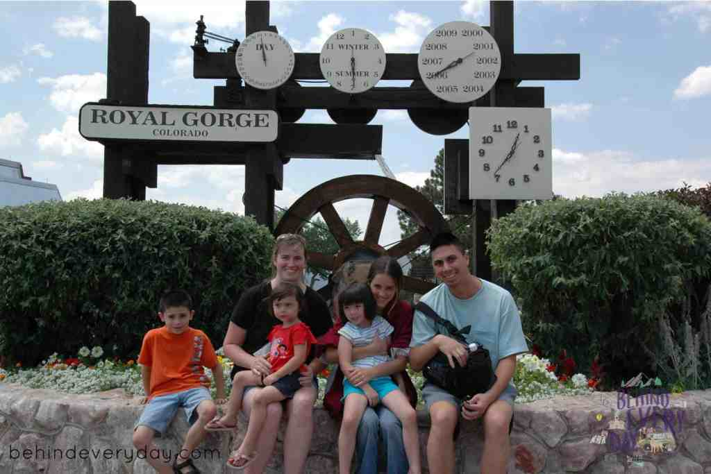 in front of the date and time clock at royal gorge in colorado