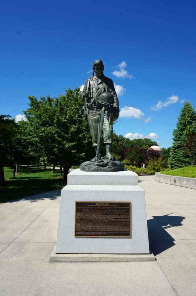 This statue has been placed at the National D-Day Memorial to honor the many losses suffered by the community of Bedford, VA on D-Day.