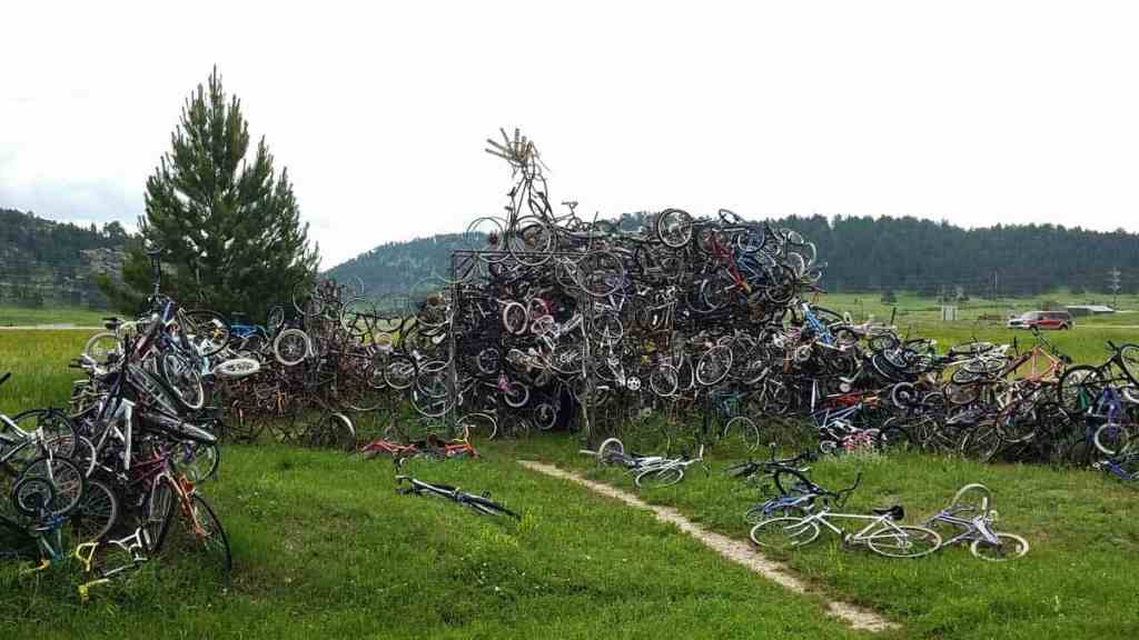 Sculpture made out of bicycles welded together in Pringle, SD