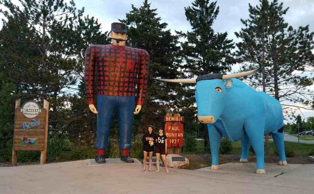 Stopping by to take pictures with Paul Bunyan and Babe, his blue ox in Bemidji, MN