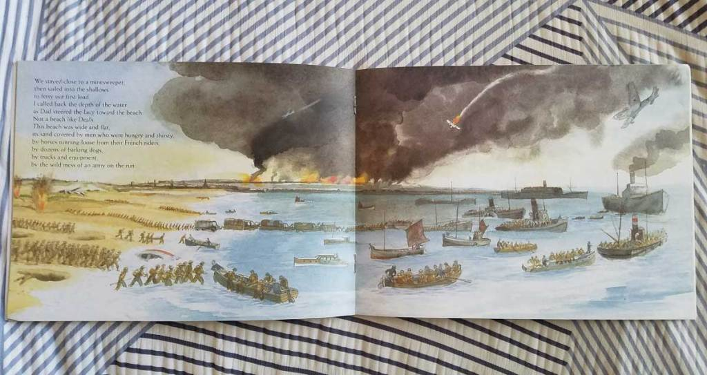 Center page of The Little Ships by Louise Borden showing a wide angle view of the Dunkirk beach evacuation by small boats and larger ships