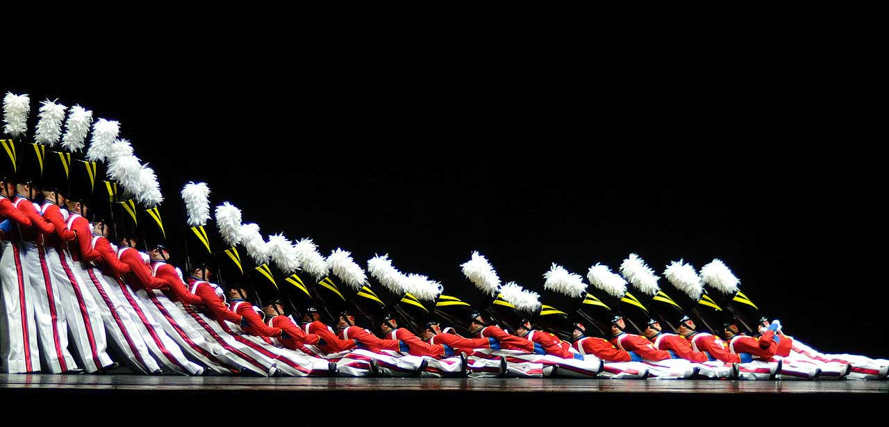 The Rockettes slowly collapse in the Dance of the Wooden Soldier, part of the Christmas Spectacular show