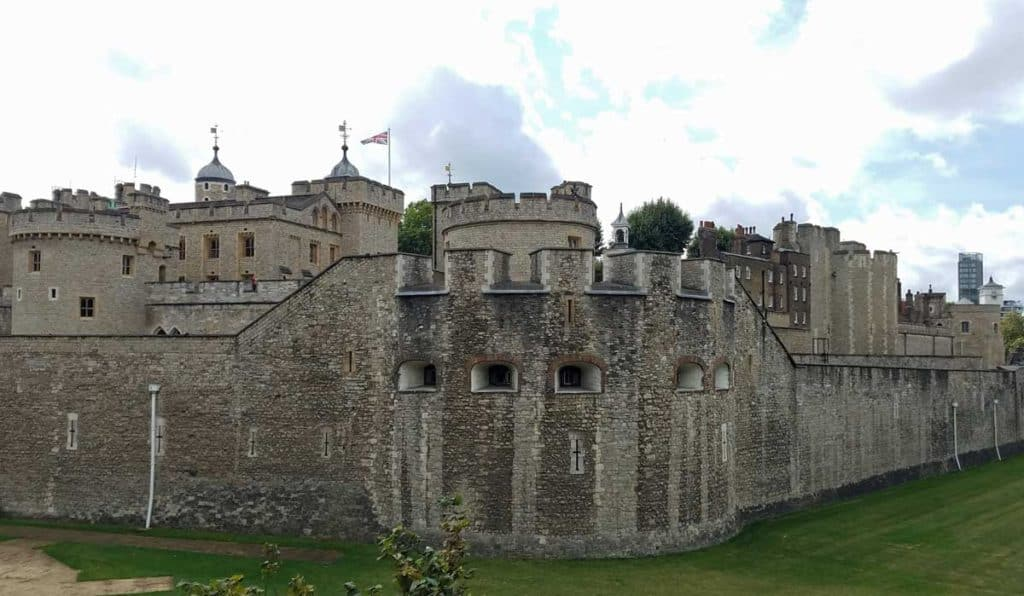 Looking at the exterior walls of the Tower of London