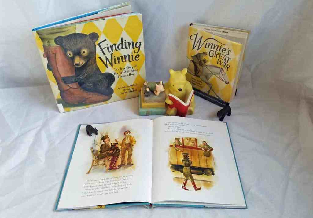 Inside pages of Winnie by Sally M. Walker show Harry Colebourn buying a baby bear and taking her onto a train.