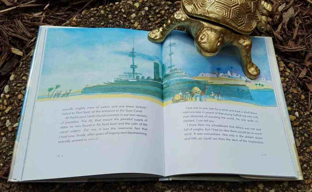 Inside page of The Tortoise and the Soldier showing a British battleship docked in Port Said near the Suez Canal- watercolor illustration