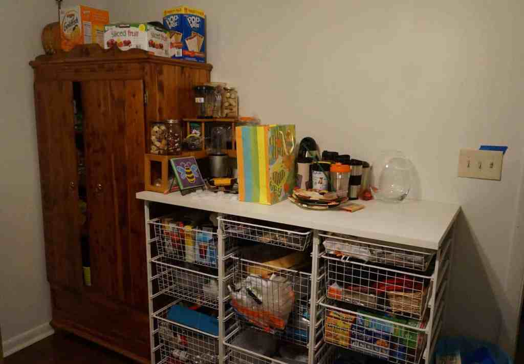 pantry with wire drawers full of supplies