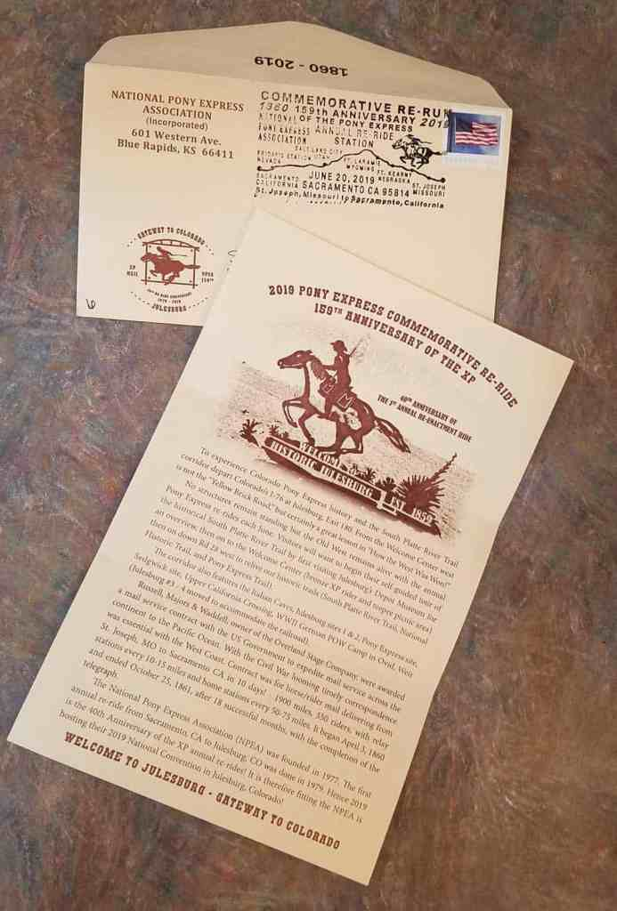 The 2019 Pony Express Association re-ride commemorative letter.