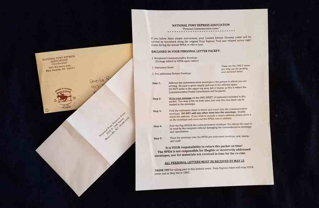 Directions for submitting a personal commemorative letter to the annual pony express re-ride