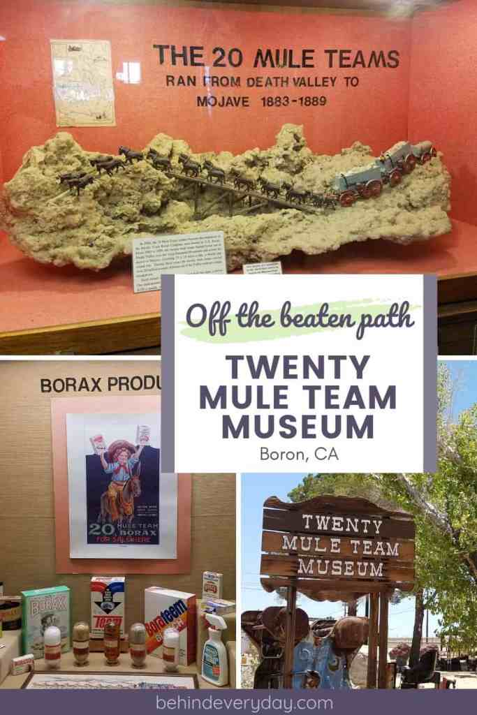 Graphic of three photos- 1. 20 mule team wagon model displayed on borax crystal, 2. museum display of borax products, 3. Twenty Mule Team Museum sign