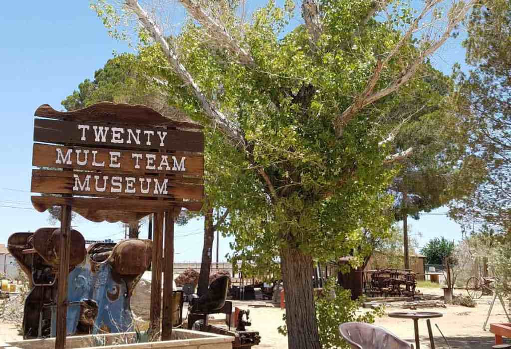 "sign that reads ""twenty mule team museum"""
