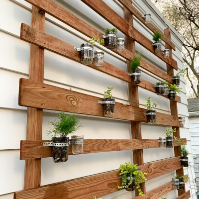 How To DIY Our Patio Plant and Candle Wall