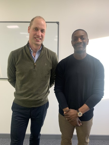Marvin Sordell with Prince William