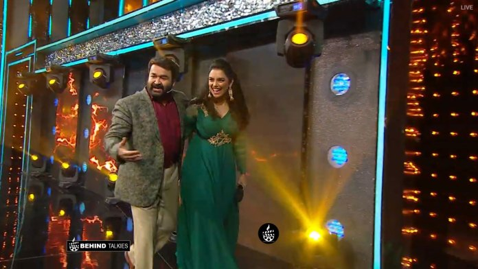 Swetha Menon with Mohanlal before entering into Bigg Boss House