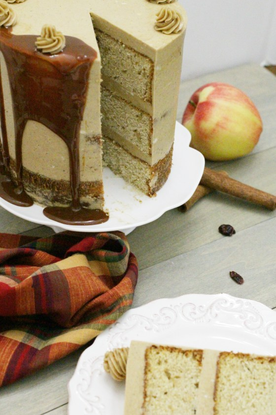 Behind the cake- Cranberry apple cake frosted with brown sugar spice Swiss meringue with dripping caramel