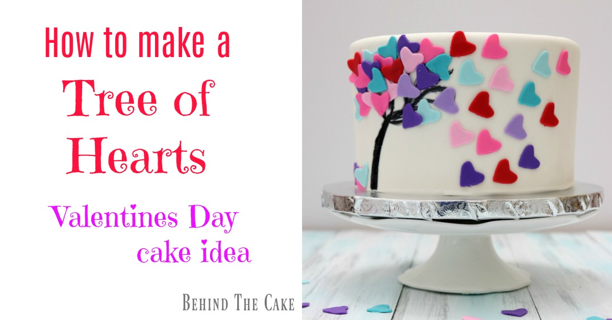 Behind the cake - Valentines Day Cake Tree of hearts